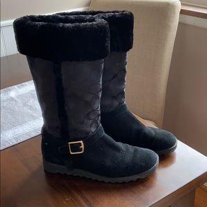 Coach furry winter boots